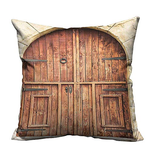 YouXianHome Throw Pillow Cover for Sofa Traditional Oak Crafted Doorway on Stone Facade Artisan Hand Made Features Culture Print Textile Crafts (Double-Sided Printing) 24x24 inch