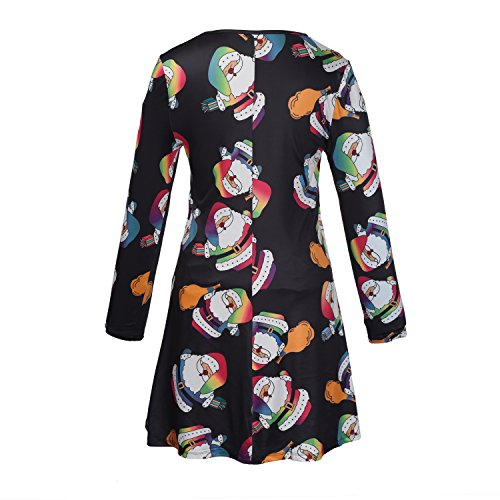 Las mujeres de las mujeres de manga larga PlusSanta de Navidad Regalos de Navidad Print Flared Swing Dress Top Negro # 2