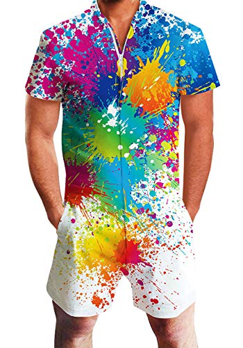 Men's Rompers Male Zipper Jumpsuit Shorts White Paint Spatter Graffiti Printed One Piece Slim Fit Outfits Bro Short Sleeve Overalls