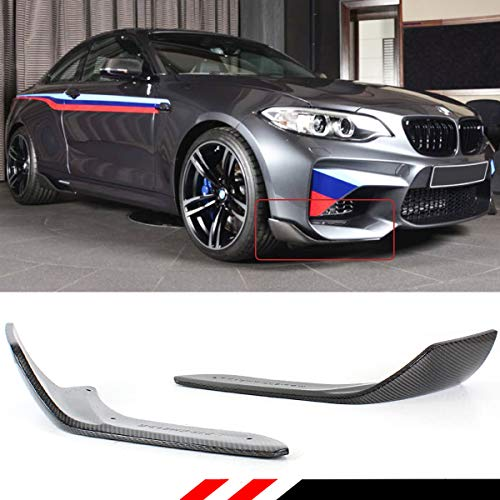 Fits for 2016-2018 BMW F87 M2 Performance Style 2 Pieces Carbon Fiber Front Bumper Splitters Spoilers