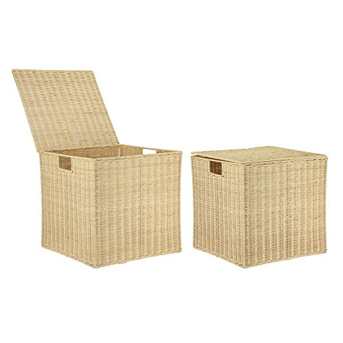 Household Essentials Nested Box Set with Lids Rattan