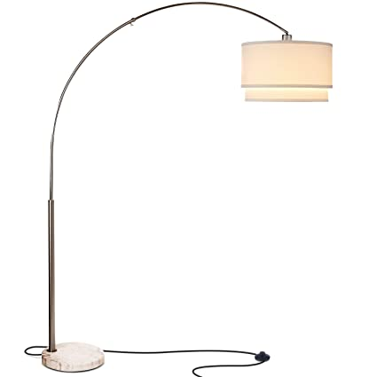 buy popular 91bb2 3d865 Brightech Mason LED Arc Floor Lamp with Marble Base - Living Room Pole  Lighting - Modern, Tall Standing Hanging Light Fits Behind The Couch Or in  A ...