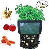 Casolly 7 Gallon PE Garden Potato Grow Bags with Handles for Gardening – 4 Pack For Sale