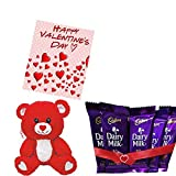 Maalpani Special Valentine's Day Gift Hamper And Combo Greeting Card Teddy Bear (Pack Of Small Cadbury Dairy Milk Set) Type-3