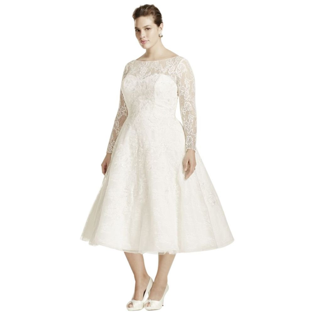 Plus Size Oleg Cassini Long Sleeved Tea Length Wedding Dress Style