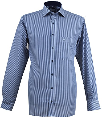 Eterna Herren Business-Hemd Grau Grey / Blue Stripe