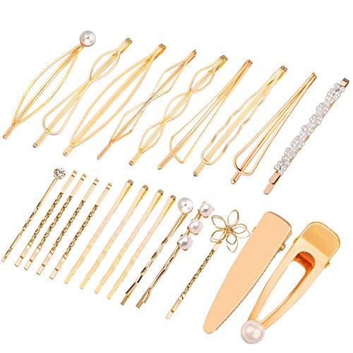 SIQUK 23 Pcs Gold Hair Pins Geometric Hair Clips Pearl Bobby Pin Hair Barrettes for Girls and Women (Pins Smooth Bobby)