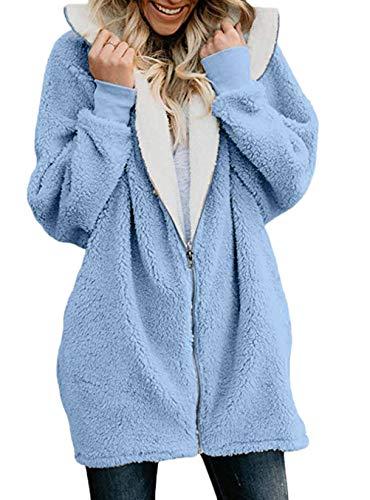 à Casual Automne Veste Sweatshirts Élégant longues Mode Sweat capuche Chic Woolly Femmes manches Hiver Manteau à À Zipper Sweat Fille Outwear Lâche Bleu capuche SqTSPwF