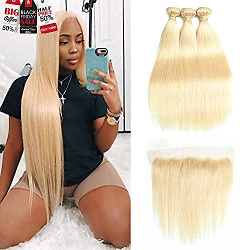 HCDIVA 613 Blonde Human Hair Bundles with Frontal Brazilian Straight with Frontal 100% Virgin Human Hair Weave with 13x4 Lace Frontal (28 28 28+20inch, 613) from HCDIVA