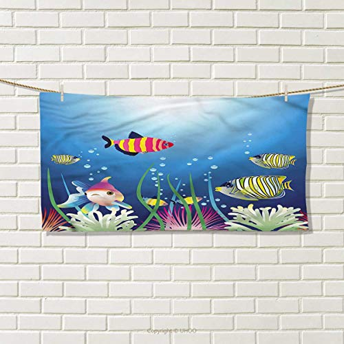 """ZJ66dzmt Aquarium Hand Towel Tropic Fish Seaweed Marine Travel Towel Size: W 12"""" x L 27.5"""""""