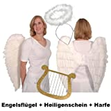 Top-Angebot!!! Engelsflügel-Set aus echten Federn mit Heiligenschein und Harfe, weiß