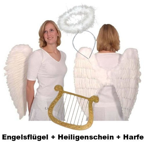 Top-Angebot!!! Engelsflügel-Set aus echten Federn mit Heiligenschein und Harfe, weiß weiß WOOOOZY