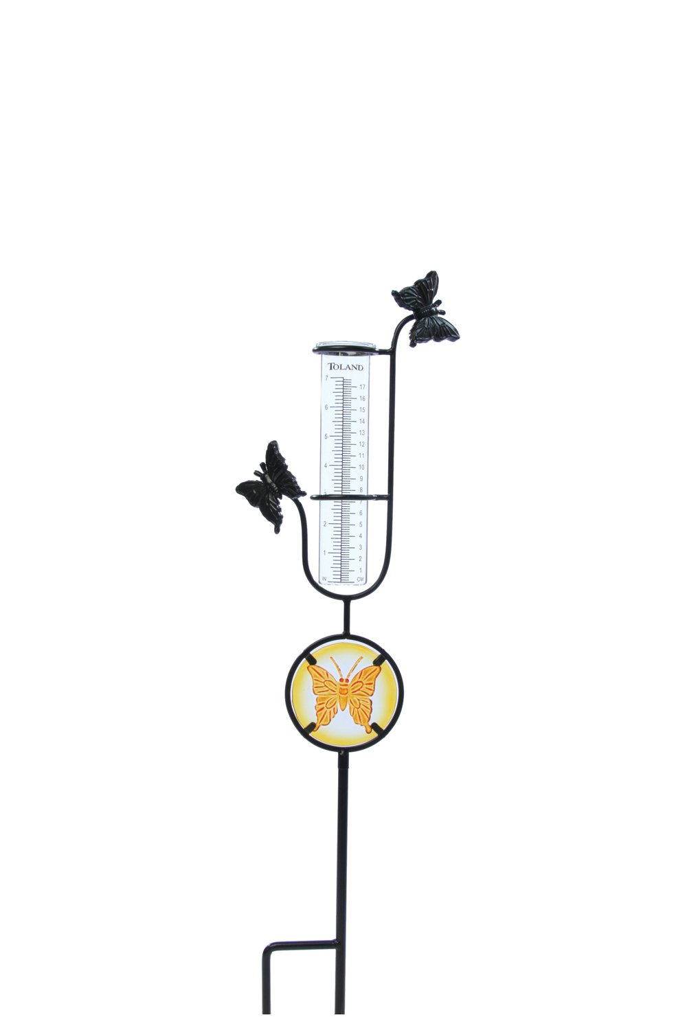 Toland Home Garden Butterfly Decorative Outdoor Garden StakeRain Gauge Statuewith Glass Udometerfor Yards, Gardens, and Planters 218180