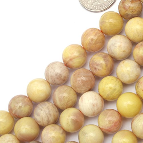 (GEM-inside 10MM Round Smooth Yellow Sun Stone Agate For Jewelry Making Spacer Beads Strand 15 Inches)