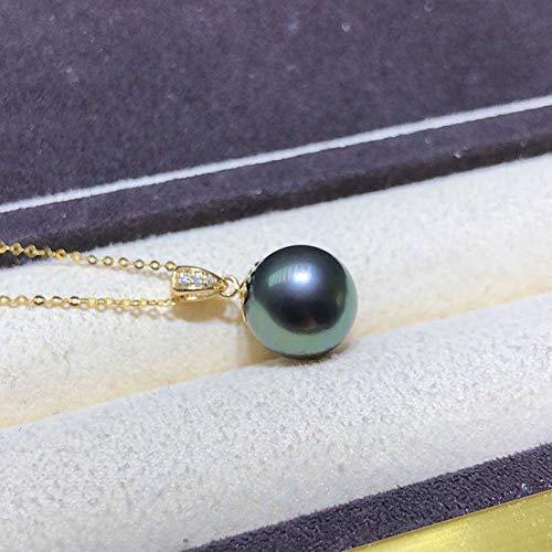 (Black 11-12mm AAAA Quality Tahitian 18K Yellow Gold Seawater Pearl Pendant for Women)