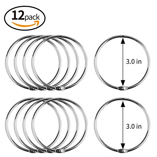 MROCO Smart Nickel Plated Loose Leaf Ring Extra Large Book Ring, 3-inch Diameter, Nickel-Plated Finish, 12 per Box, (Album Key Ring)