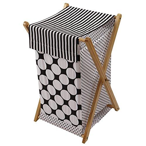 Bacati - Dots/pin Stripes Black/White Hamper