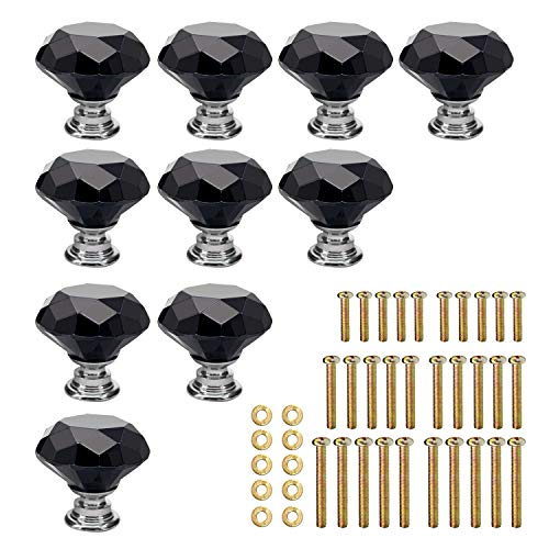 Knobs Drawer Black - KEIVA 10pcs Diamond Shape Crystal Glass 30mm Black Drawer Knob Pull Handle Usd for Cabinet Drawer Cupboard Chest Dresser with 3 kinds of Screws (30mm, Black)