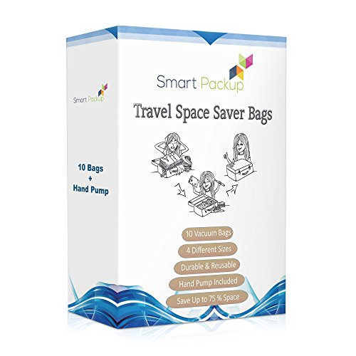 Smart-Packup Travel Space Saver Bags - 10 Vacuum Storage Bags with Hand Pump