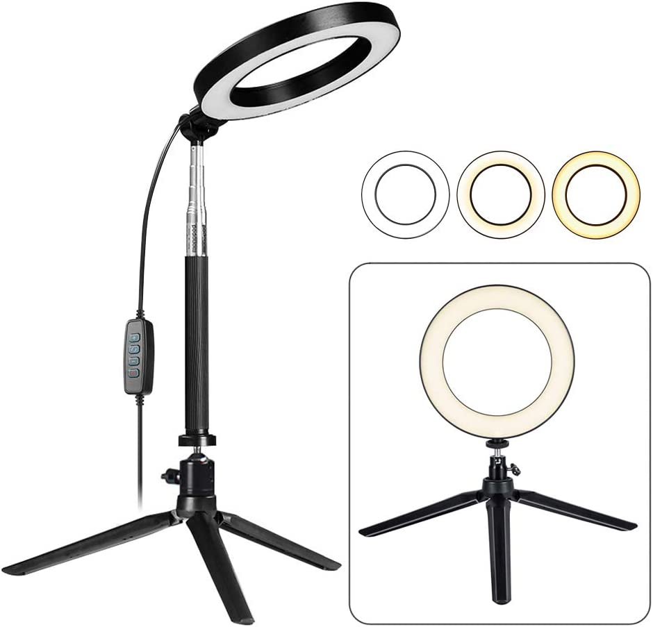JYEMDV LED Floor Ring Light with Tripod USB Charging 3 Kinds of Light Mode Fill Light Network Live Selfie Lamp Color : D