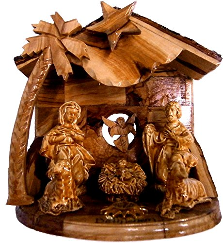 Musical Olive Wood Nativity Set with Rustic Stable (Bark Roof) - Glued Alabaster pieces (6.5 (Wood Christmas Nativity Set)