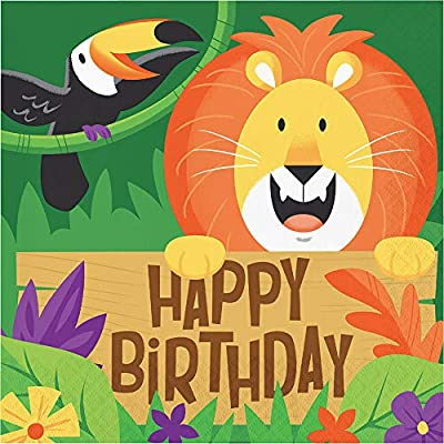 Jungle Safari Theme Party Supplies Pack Serves 16: Dinner Plates Luncheon Napkins Cups and Table Cover w Birthday Candles (Bundle for 16): Toys & Games