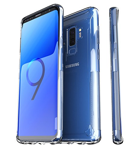 ShieldX2 Ultra Thin Transparent Case with Tempered Glass Screen Protector and Phone Replacement Promise for Samsung Galaxy S9 Plus - Clear