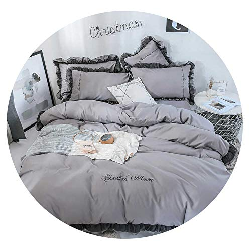 No Buy No Bye Luxury Beauty White Bedding Set Lace Duvet Cover Flat Sheet Bedclothe Double Queen King Bed Linen for Girl Gift,008,Full