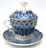 Lomonosov Porcelain Tea Maker ''Forget-me-not'' Tea Cup with Lid and Saucer