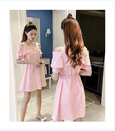 Ladies' Ceinture paules Robe Bow Robes d't 6626 XL Slim Rose Robe MiGMV Une Jupe 0Fdq60