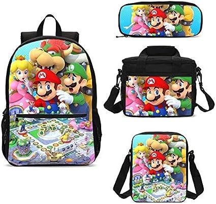 Bolsa 4 Unids/Lote Super Mario Bros Anime School Bag Set Niños Mujeres Bagpack Hombres Mochila Con Lonchera Estuche De Lápices Mocila Infantil Escolar: Amazon.es: Oficina y papelería