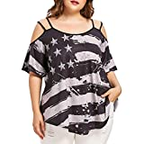 Ankola Women Oversized Blouse Top Women Cold Shoulder Strapless Plus Size American Flag T-Shirt Blouse Top (XL, Black)