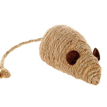 Queta - Juguete para ratón, Juguete Interactivo para Masticar Mascotas, con Forma de ratón, Cuerda de algodón Natural para Entrenar y Masticar para Gatos: ...