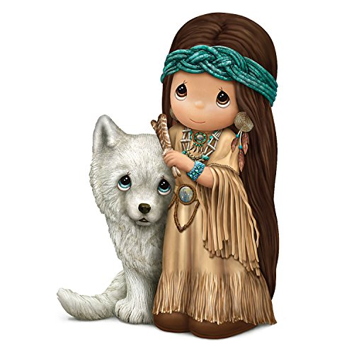 The Hamilton Collection Spirit of Freedom Native American Style Precious Moments Maiden and Pup Figurine