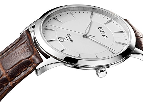Brown Dial Dress (BUREI Mens Simple Dress Quartz Watches with Simple Dial Date Calendar Calfskin Leather (brown))