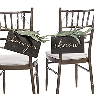 Ling's moment Rustic Vintage Wedding Chair Signs Funny Bride and Groom Chair Decor I Know You I Know for Wedding Decor Chair Back Hanging Wall Decor Signs Unique Photo Props 1