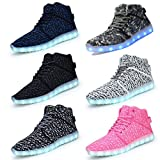 DEMANGO Led Light Up Shoes for Mens Womens High Top Flashing Rechargeable Sneakers (40/9 B(M) US Women/7.5 D(M) US Men, A-BLACK)