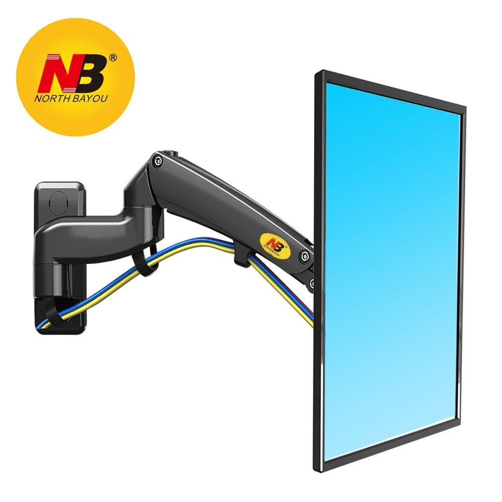 NB North Bayou Full Motion TV Monitor Wall Mount Bracket for 30-40 Inch LCD LED Flat Screen with Weight Capacity 11lbs to 22lbs (Black-Double Extension)