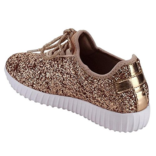 Forever Link Women's REMY-18 Glitter Fashion Sneakers Rose Gold 5.5 B(M) US by Forever Link (Image #5)