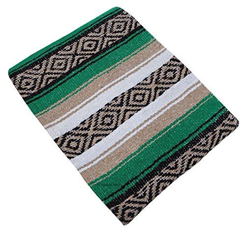 Threads West Premium Heavyweight Mexican Blanket, Serape Stripe Yoga Blanket (Green and Beige)