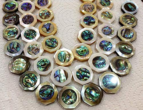 [ABCgems] Rare Tahitian White Lip Oyster (New Zealand Abalone Front & Back Inlaid) 25mm Octagon Beads (2 Pieces Wholesale - Oyster Inlaid Spiny