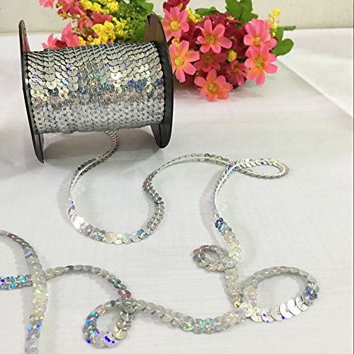 OZXCHIXU(TM) 6mm Sequin Trim Ribbon On A String in Silver (5 Metre Lengths)