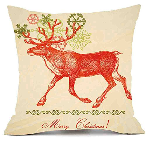 (F_topbu Christmas Pillow Cases,Happy Festival Print Vogue Office Travel Plane Accessory Retro Home Decor Soft Cushion Cover)