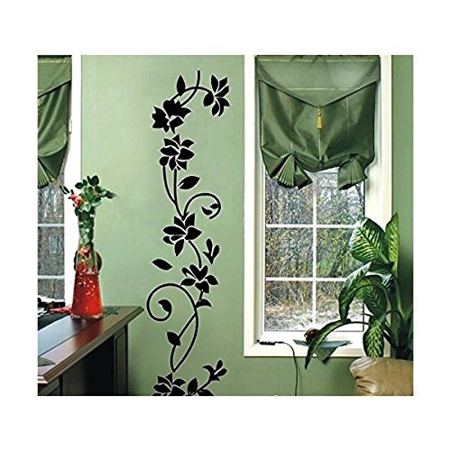 WOOTOP-The Newest Classic Black Rattan Flower Removable Vinyl Wall Decor Decal Sticker Black/FlowerRattan (Black/Flower, 1) (Black Wall Decals compare prices)