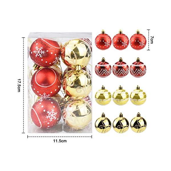 Jinlaili 6CM Palle di Natale Ornamenti, 12PCS Pallina Verniciata Palline di Natale Decorazione per Albero di Natale, Albero di Natale Palla Decorazioni per Alberi di Natale Addobbi Palle (Oro Rosso) 2 spesavip