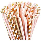 100 Pink Straws/Gold Straws for Party Supplies, Biodegradable Paper Straws, Birthday, Wedding, Bridal/Baby Shower Decorations and Holiday Celebrations