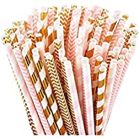 100 Pink Straws/Gold Straws for Party Supplies, Biodegradable Paper Straws, Birthday, Wedding, Bridal/Baby Shower…