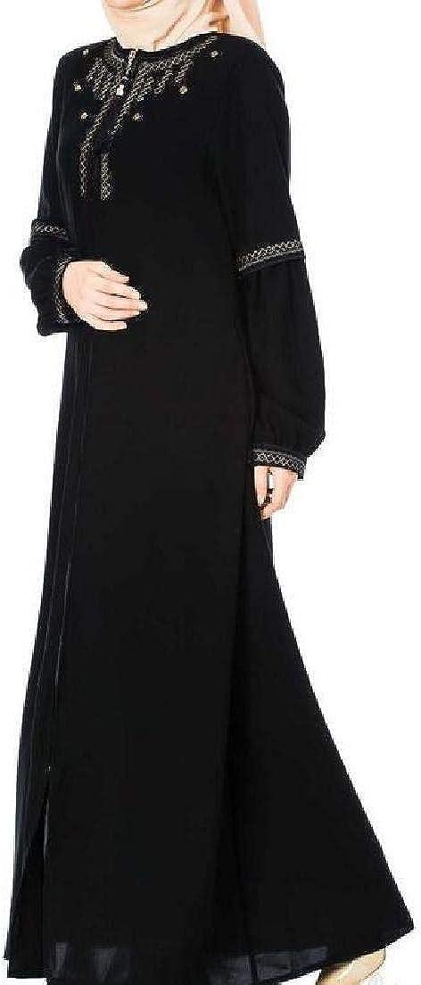 JXG Women Ramadan Islamic Abaya Long Sleeve Muslim Kaftan Long Maxi Dress