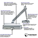 Door Closer FS-1306 Automatic Adjustable Heavy Duty Mechanism Grade 3 Spring Hydraulic Auto Door-Closer with Easy Installation Life Size Fitting Template & Instructions