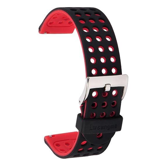 Huawei Smartwatch Band Strap- X4-TECH 18mm Width Silicone Watchbands Strap for Huawei Watch/Huawei Fit(Black/Red)